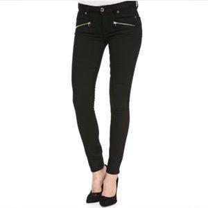 Paige Indio Black Skinny Stretch Zip Moto Pant 26